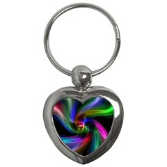 Abstract Art Color Design Lines Key Chains (Heart)