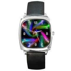 Abstract Art Color Design Lines Square Metal Watch
