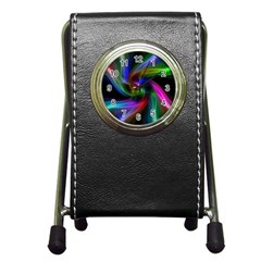 Abstract Art Color Design Lines Pen Holder Desk Clocks
