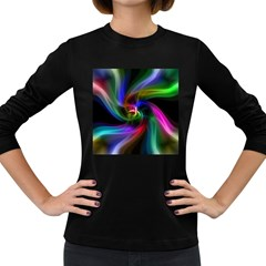 Abstract Art Color Design Lines Women s Long Sleeve Dark T-Shirts