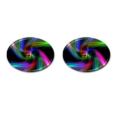 Abstract Art Color Design Lines Cufflinks (Oval)