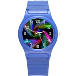 Abstract Art Color Design Lines Round Plastic Sport Watch (S) Front