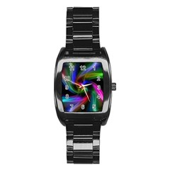 Abstract Art Color Design Lines Stainless Steel Barrel Watch