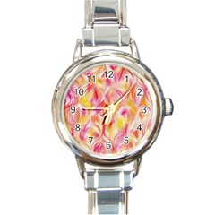 Pretty Painted Pattern Pastel Round Italian Charm Watch