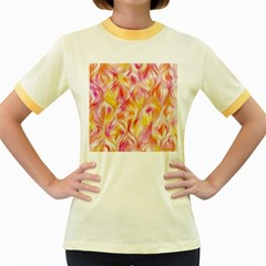 Pretty Painted Pattern Pastel Women s Fitted Ringer T-Shirts