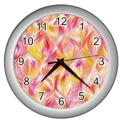Pretty Painted Pattern Pastel Wall Clocks (silver)