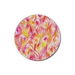 Pretty Painted Pattern Pastel Rubber Round Coaster (4 Pack)