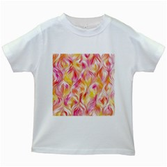 Pretty Painted Pattern Pastel Kids White T-Shirts