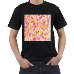 Pretty Painted Pattern Pastel Men s T-Shirt (Black) (Two Sided)