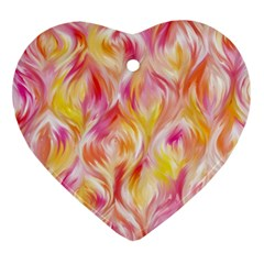 Pretty Painted Pattern Pastel Heart Ornament (Two Sides)