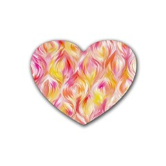 Pretty Painted Pattern Pastel Rubber Coaster (Heart)