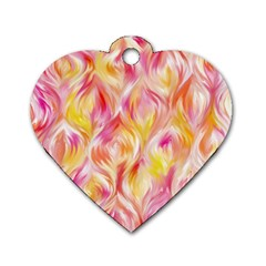 Pretty Painted Pattern Pastel Dog Tag Heart (Two Sides)
