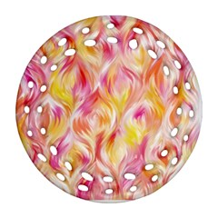Pretty Painted Pattern Pastel Round Filigree Ornament (two Sides)