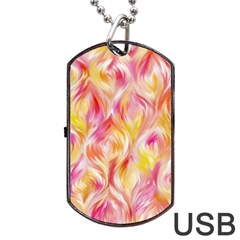 Pretty Painted Pattern Pastel Dog Tag Usb Flash (one Side)