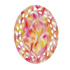 Pretty Painted Pattern Pastel Oval Filigree Ornament (two Sides)