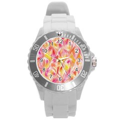 Pretty Painted Pattern Pastel Round Plastic Sport Watch (l)
