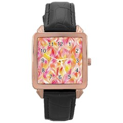 Pretty Painted Pattern Pastel Rose Gold Leather Watch