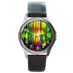 Abstract Vibrant Colour Botany Round Metal Watch
