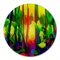 Abstract Vibrant Colour Botany Round Mousepads