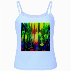 Abstract Vibrant Colour Botany Baby Blue Spaghetti Tank