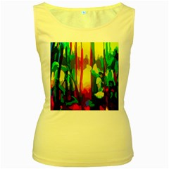 Abstract Vibrant Colour Botany Women s Yellow Tank Top