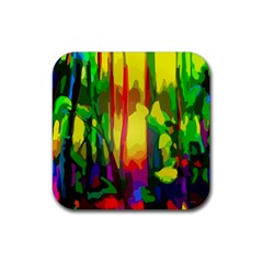 Abstract Vibrant Colour Botany Rubber Square Coaster (4 pack)