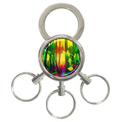 Abstract Vibrant Colour Botany 3 Ring Key Chains