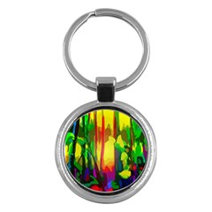 Abstract Vibrant Colour Botany Key Chains (Round)