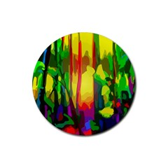 Abstract Vibrant Colour Botany Rubber Coaster (round)
