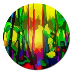 Abstract Vibrant Colour Botany Magnet 5  (round)