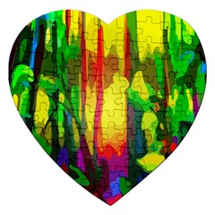 Abstract Vibrant Colour Botany Jigsaw Puzzle (heart)