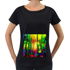 Abstract Vibrant Colour Botany Women s Loose Fit T Shirt (black)