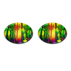 Abstract Vibrant Colour Botany Cufflinks (oval)