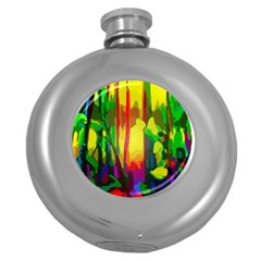 Abstract Vibrant Colour Botany Round Hip Flask (5 Oz)