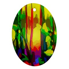 Abstract Vibrant Colour Botany Oval Ornament (two Sides)