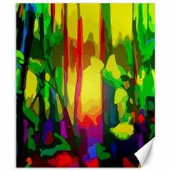 Abstract Vibrant Colour Botany Canvas 8  x 10