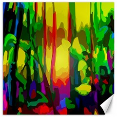 Abstract Vibrant Colour Botany Canvas 16  x 16
