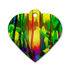 Abstract Vibrant Colour Botany Dog Tag Heart (two Sides)
