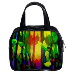 Abstract Vibrant Colour Botany Classic Handbags (2 Sides)