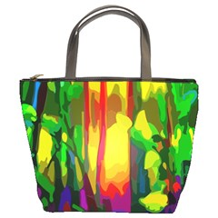 Abstract Vibrant Colour Botany Bucket Bags