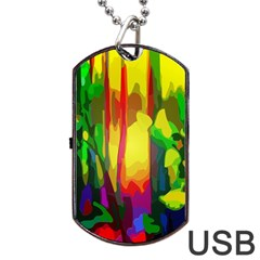 Abstract Vibrant Colour Botany Dog Tag USB Flash (Two Sides)