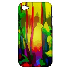 Abstract Vibrant Colour Botany Apple iPhone 4/4S Hardshell Case (PC+Silicone)