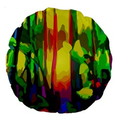 Abstract Vibrant Colour Botany Large 18  Premium Round Cushions