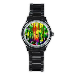 Abstract Vibrant Colour Botany Stainless Steel Round Watch