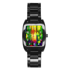 Abstract Vibrant Colour Botany Stainless Steel Barrel Watch