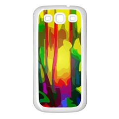 Abstract Vibrant Colour Botany Samsung Galaxy S3 Back Case (White)