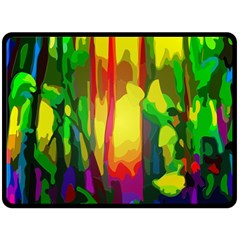 Abstract Vibrant Colour Botany Double Sided Fleece Blanket (large)
