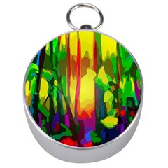 Abstract Vibrant Colour Botany Silver Compasses