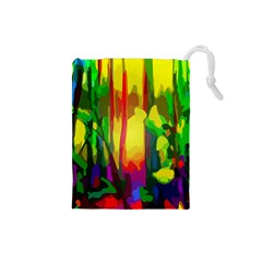 Abstract Vibrant Colour Botany Drawstring Pouches (small)