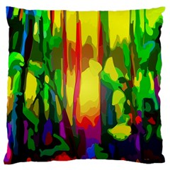 Abstract Vibrant Colour Botany Large Flano Cushion Case (two Sides)